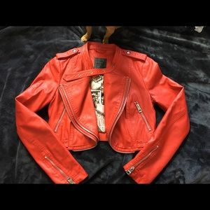 Cropped Faux Red Leather Moto Jacket